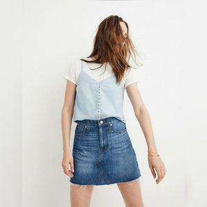 NWOT Madewell Rigid Denim A-Line Mini Skirt 24